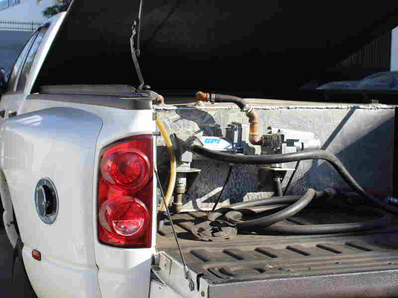 Underneath this truck bed's cover is a homemade rig of tubes and a welded-together 250-gallon tank. These thieves were making runs between Las Vegas and Los Angeles.