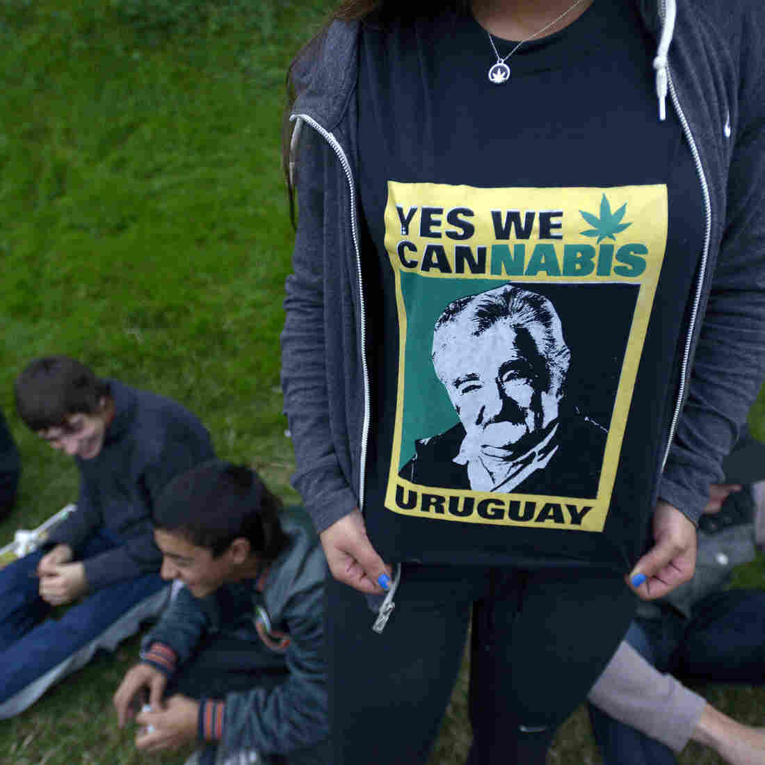 Outgoing Uruguay President Jose Mujica's face illustrates a T-shirt supporting his new law legalizing marijuana. Uruguay's citizens are voting for Mujica's replacement on Sunday, and the expected winner is a candidate from his party.