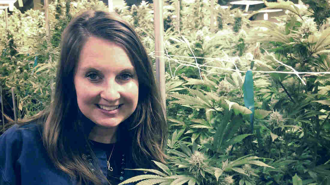 Brooke Gehring, CEO of Patients Choice and Live Green Cannabis, stands in one of her company's grow houses in Denver.