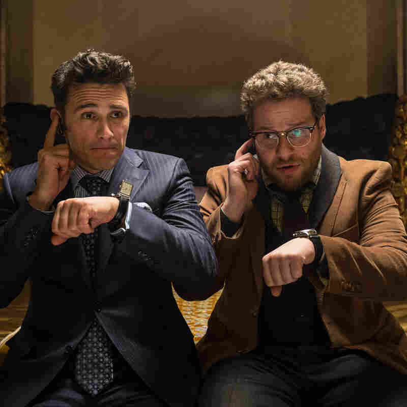 James Franco, left, as Dave, and Seth Rogen as Aaron, in a scene from Columbia Pictures' The Interview. The movie imagines a plot to kill Kim Jong-un, and has angered the North Korean government. It's believed to have led to a cyberattack on Sony Pictures.