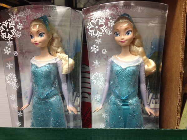 Dolls depicting Elsa from the Disney film Frozen — the movie's merchandise is expected to be the most popular gift for girls this holiday season — await pickup Sunday at an Amazon warehouse in Tracy, Calif.