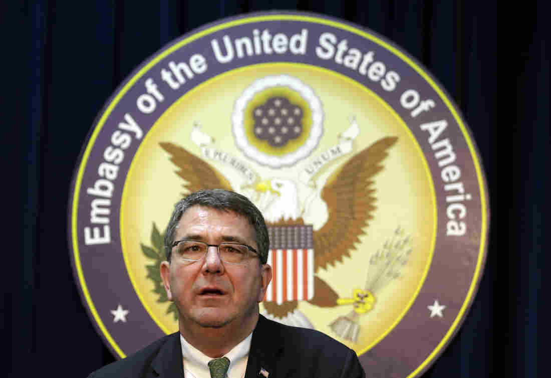 Ashton Carter answers a reporter's question during a March 2013 news conference at the U.S. Embassy in Seoul, South Korea.