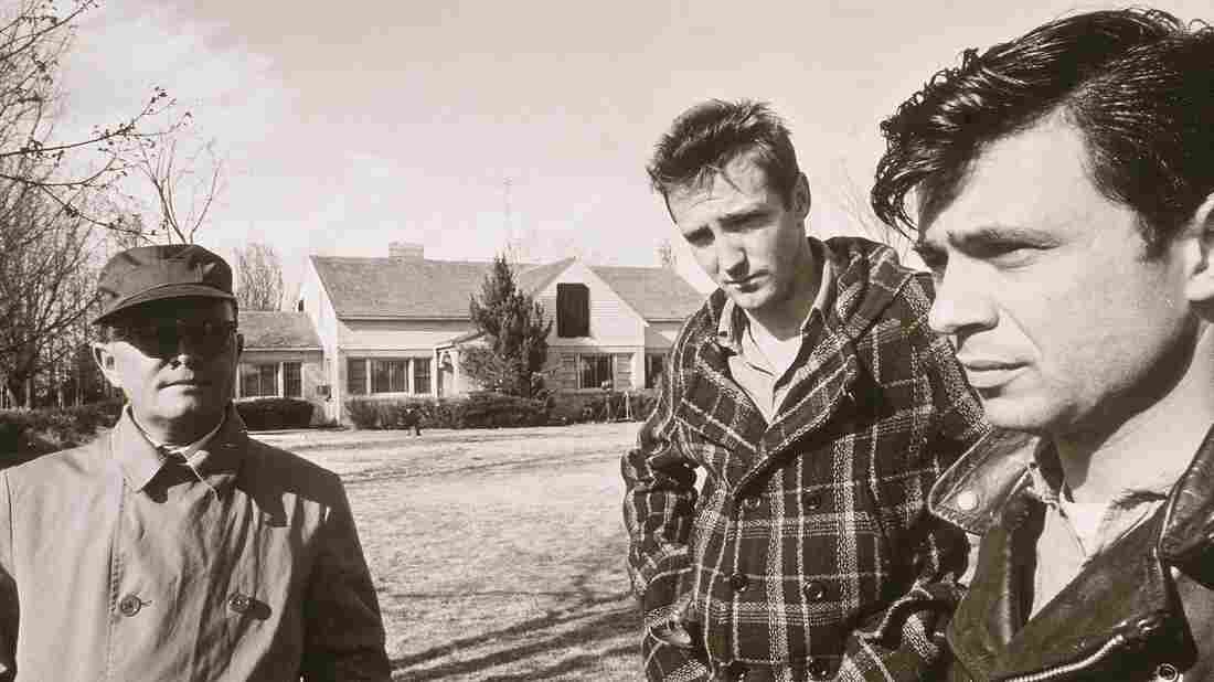 Not long after the publication of In Cold Blood, the book was adapted into film. Here, Truman Capote (left) stands beside Scott Wilson (center) and Robert Blake, the actors who played convicted killers Dick Hickock and Perry Smith, respectively.
