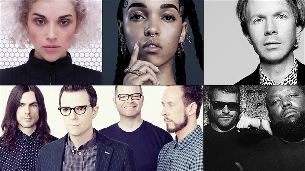 Top row: Weezer; Middle row: Run The Jewels, Beyonce; Bottom row: St. Vincent, FKA Twigs, Beck (Courtesy of the artists)