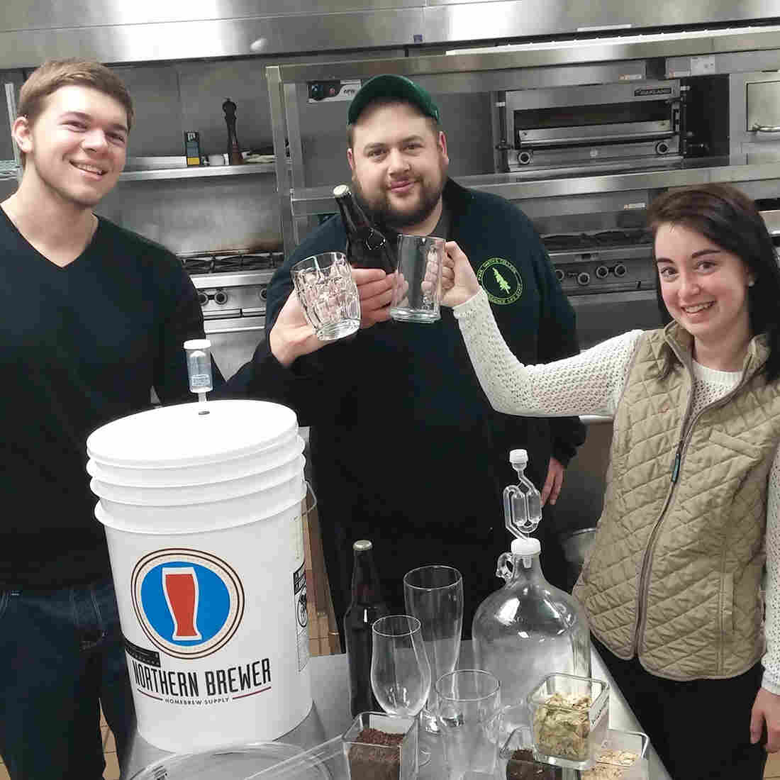 Nicholas Komninos (from left), Anthony Pernisi and Ashlee Doele are among the 25 students who signed up for the first suds-specific class in Paul Smith's College's new minor in craft beers. It's a three-credit course in brewing, replete with labs and lectures.