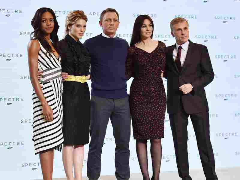 (From left) British actress Naomi Harris, French actress Lea Seydoux, British actor Daniel Craig, Italian actress Monica Bellucci and Austrian actor Christoph Waltz pose during an event to launch the 24th James Bond film, Spectre, at Pinewood Studios near London on Thursday.