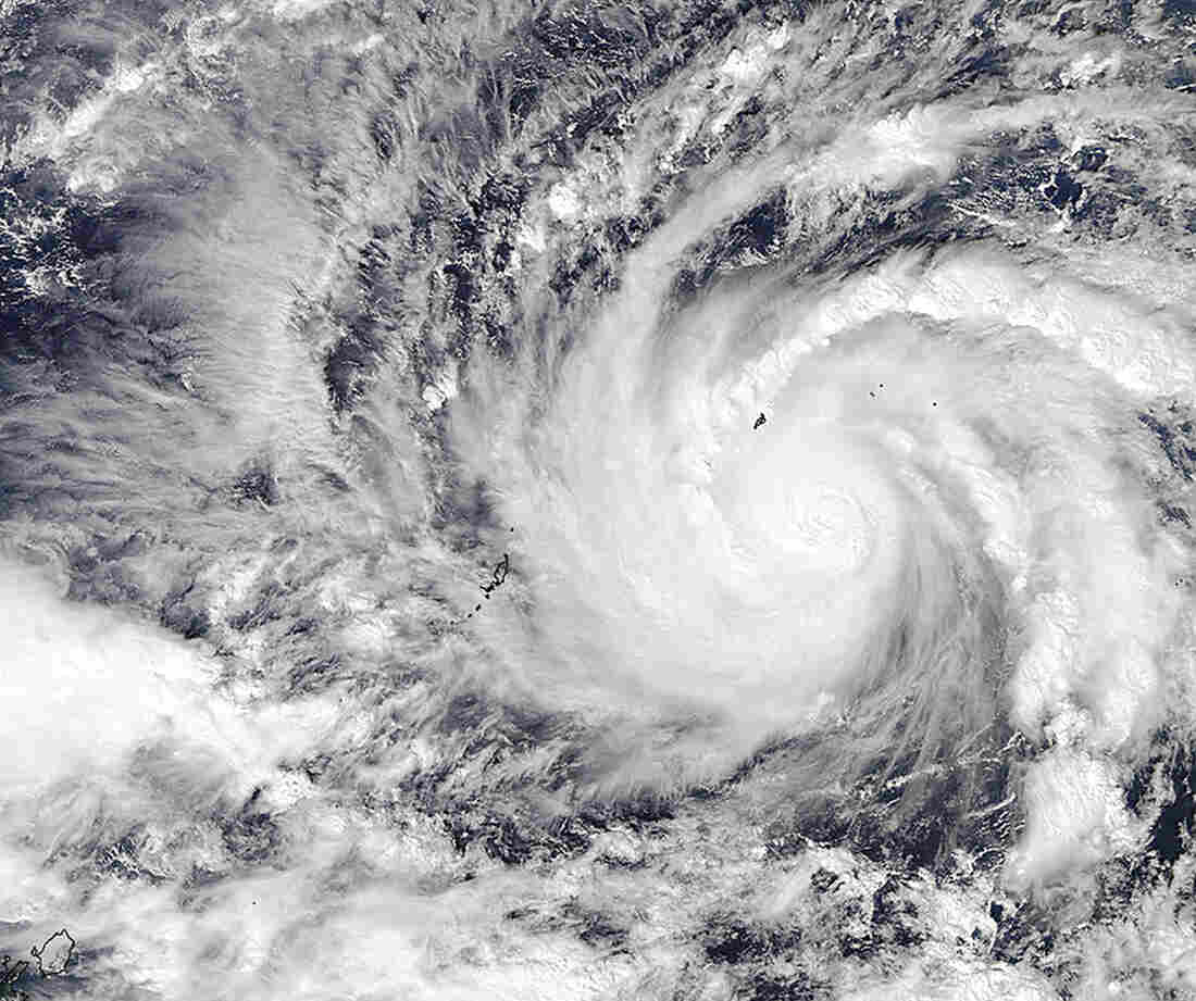 This image captured by NASA's Aqua satellite shows Typhoon Hagupit on Wednesday in the western Pacific Ocean.