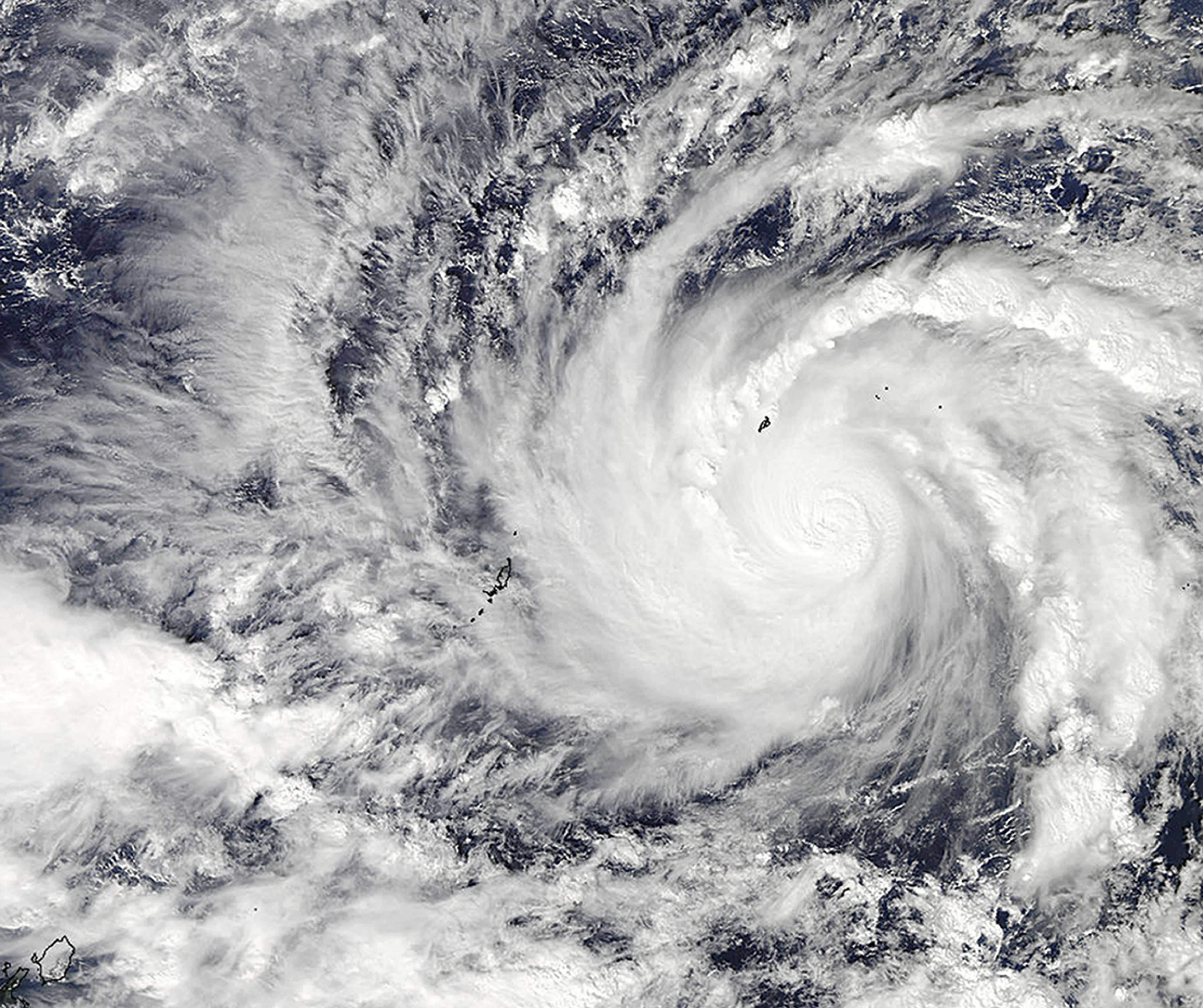 This image captured by NASA's Aqua satellite shows Typhoon Hagupit on