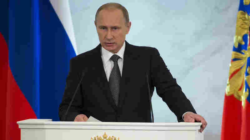 Russian President Vladimir Putin, in his state of the union speech on Thursday, defended the Kremlin's aggressive foreign policy, saying the actions are necessary for his country's survival.