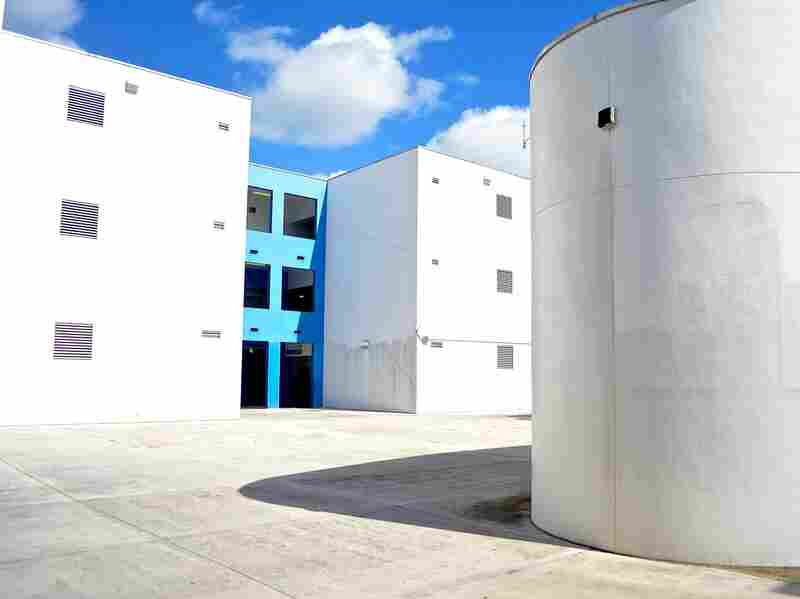 With an eye toward hurricane protection and energy efficiency, Jose de Diego, like many schools in South Florida, has few windows and large expanses of facade.