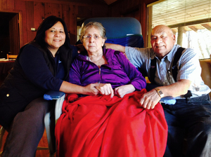 (From left) Marie Sherman and her parents, Beatrice and Manuel DeLeon.