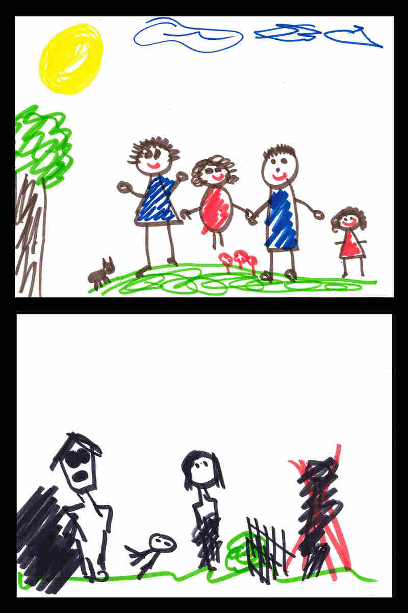 Examples of a family drawing assessment: A drawing from a child scored with minimal indicators of family dysfunction (top), and one from a child scored with elevated levels of family dysfunction (bottom).
