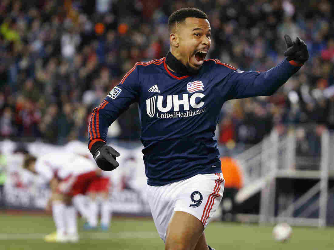 New England Revolution's Charlie Davies celebrates his goal against the New York Red Bulls last week to secure a spot in the MLS Cup.