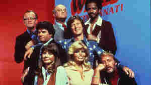 The cast of WKRP in Cincinnati, recently reissued on DVD by Shout! Factory, which collected licenses to include most of the original music broadcast on the show.