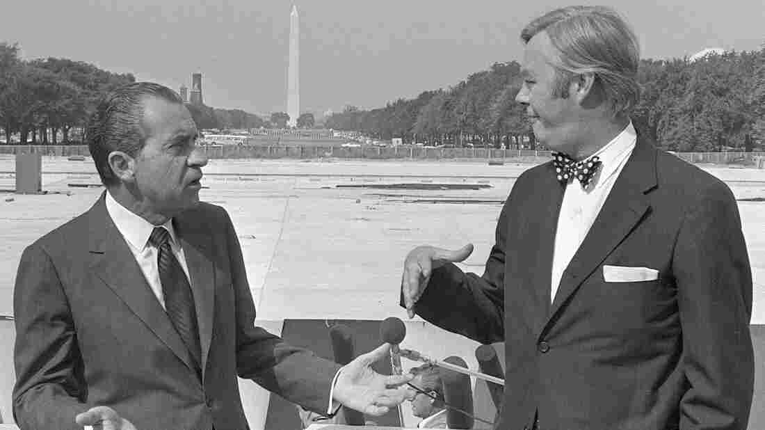 Richard Nixon and Daniel Patrick Moynihan at the U.S. Capitol Building in 1970.