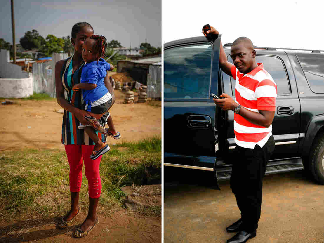 """""""Looking good is business,"""" says Angie Kolanta, 28, holding her 2-year-old daughter, Philomena, on her hip. Right: """"Even if poor, even if without a job, Liberians still spend money on clothes,"""" says Muhammed Trawally, 33, who works as a driver. """"They value appearance over everything."""""""