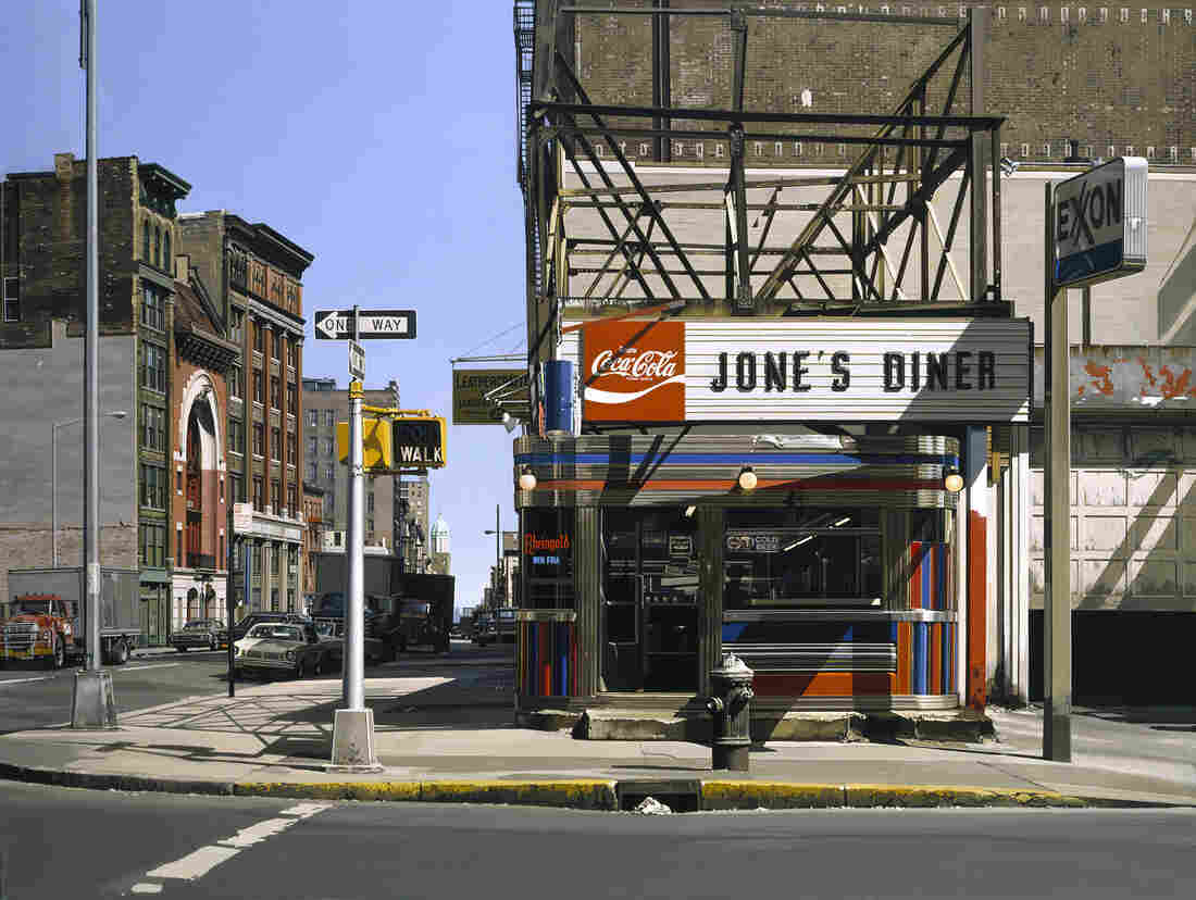 Richard Estes, Jone's Diner, 1979, oil on canvas. (Private collection.) Click here for a closer look.
