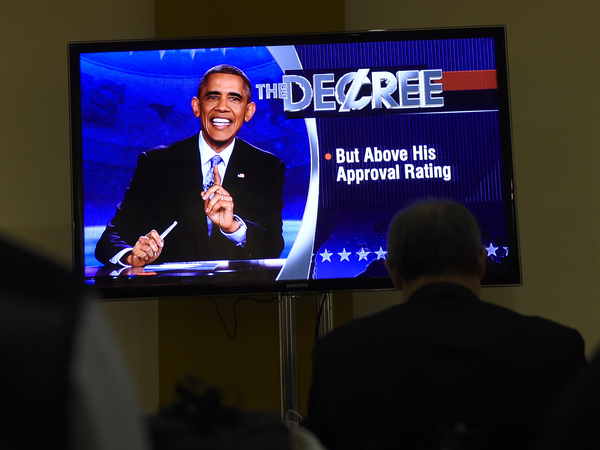 """The president took over a segment renamed """"The Decree"""" on The Colbert Report."""