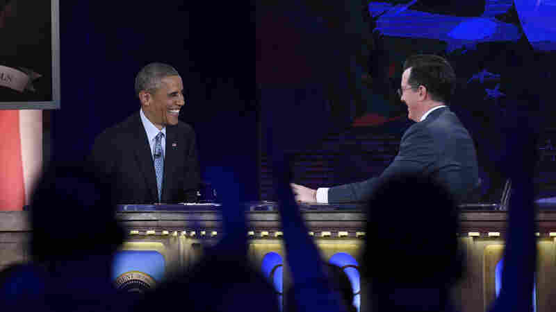 "President Obama, appearing on The Colbert Report, said, ""Look, the election didn't go as it, uh — as I would have liked. You notice, I made a little correction there, I had a little thought bubble."""