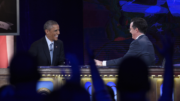 """President Obama, appearing on The Colbert Report, said, """"Look, the election didn't go as it, uh — as I would have liked. You notice, I made a little correction there, I had a little thought bubble."""""""