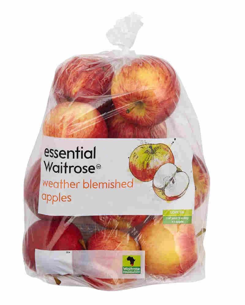 """This summer, U.K. supermarket chain Waitrose stocked apples prominently branded as """"weather blemished"""" — the result of extensive damage from hail at its South African farm suppliers."""