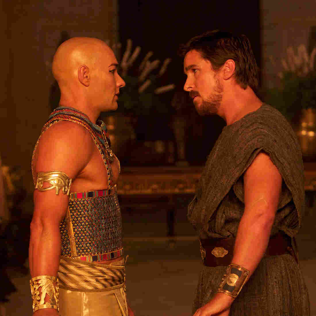 Rhamses (Joel Edgerton) and Moses (Christian Bale) in Ridley Scott's Exodus: Gods and Kings.