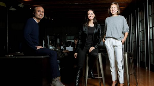 Gawker CEO Nick Denton is seen with chief strategy officer Erin Pettigrew (center) and president Heather Dietrick. Denton is stepping down as the president of the media company he founded.