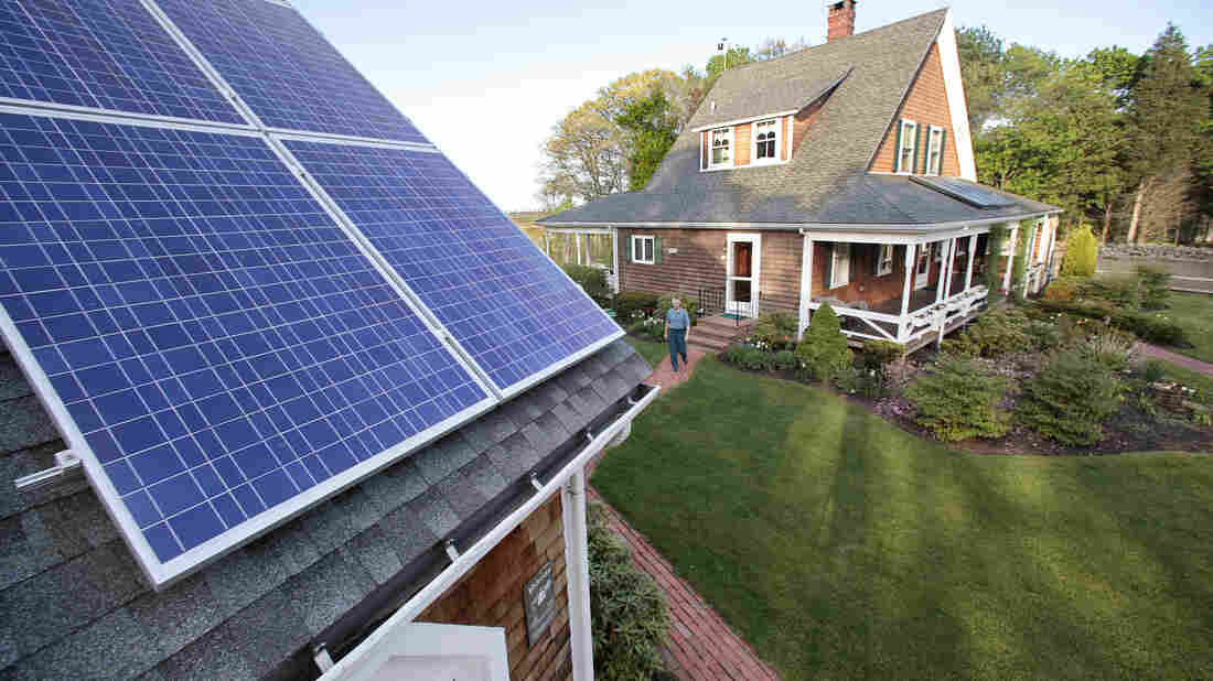 Solar energy panels on a roof in Marshfield, Mass.