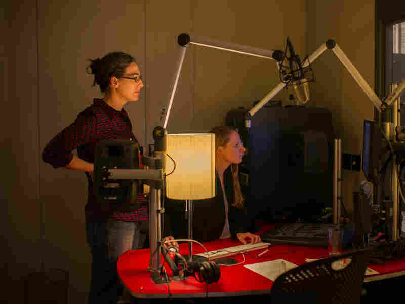 Serial producers Sarah Koenig (left) and Dana Chivvis in the recording studio.