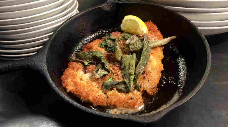 Chef Jay Bentley makes his pork schnitzel with panko instead of the more traditional bread crumbs. He gets his pork from growers who raise heritage-style pigs that are allowed to forage outside.