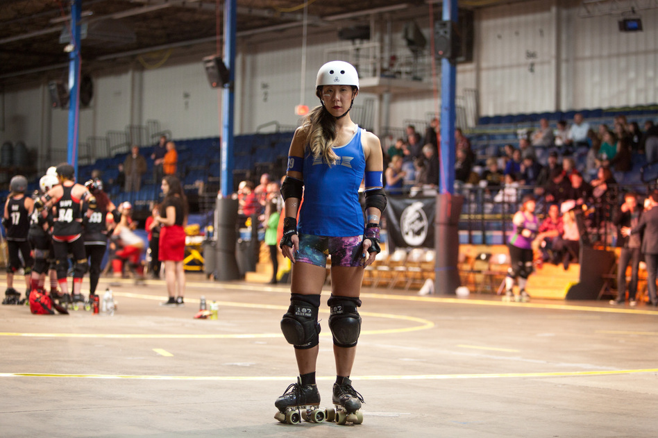 Nina Park, also known as Elle L. Cool Jam, is a member of the Cosmonaughties roller derby team in the Boston Derby Dames league. (Kayana Szymczak for NPR)
