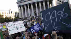 Occupy Wall Street protesters join a labor union rally in Foley Square before marching on Zuccotti Park in New York's Financial District in 2011. A new report shows that wealth inequality between whites and nonwhites grew during the Great Recession.