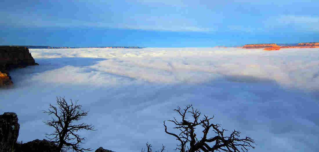 Clouds are seen filling the South Rim of the Grand Canyon in Arizona on Thursday, in a weather phenomenon at the national park.