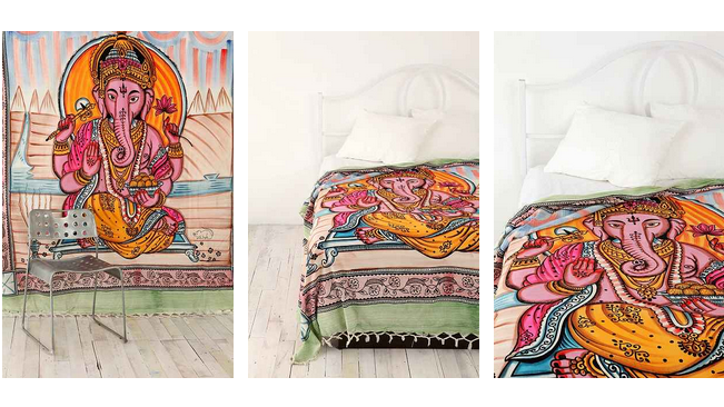 This Lord Ganesh tapestry is currently being advertised on Urban Outfitters' website. The company previously drew outrage for its Lord Ganesh duvet cover.