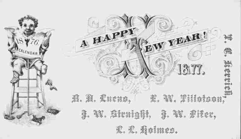 New Year's Calling card for a group of gentlemen in 1877.