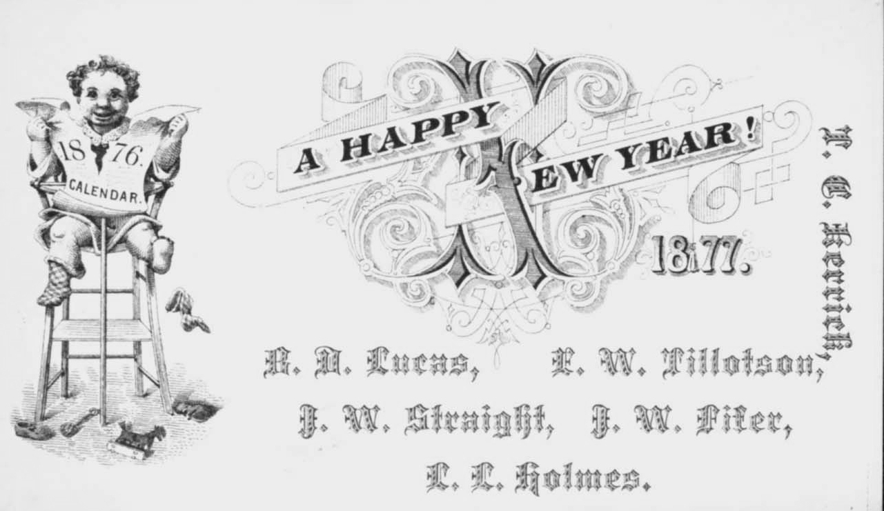 new years calling card for a group of gentlemen in 1877