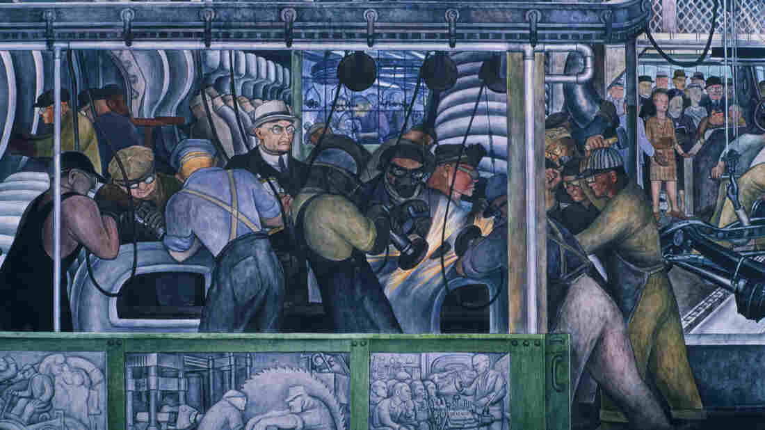 Photo of a portion of Diego Rivera's Detroit Industry Murals.