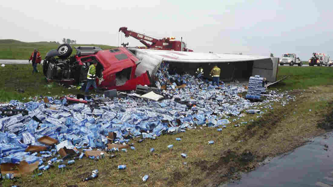 In June, the driver of this tractor-trailer reportedly fell asleep at the wheel, causing a wreck that dumped a cargo of beer cans into the median of Interstate 29 near Summit, S.D., according to the South Dakota Highway Patrol, which supplied this photo.