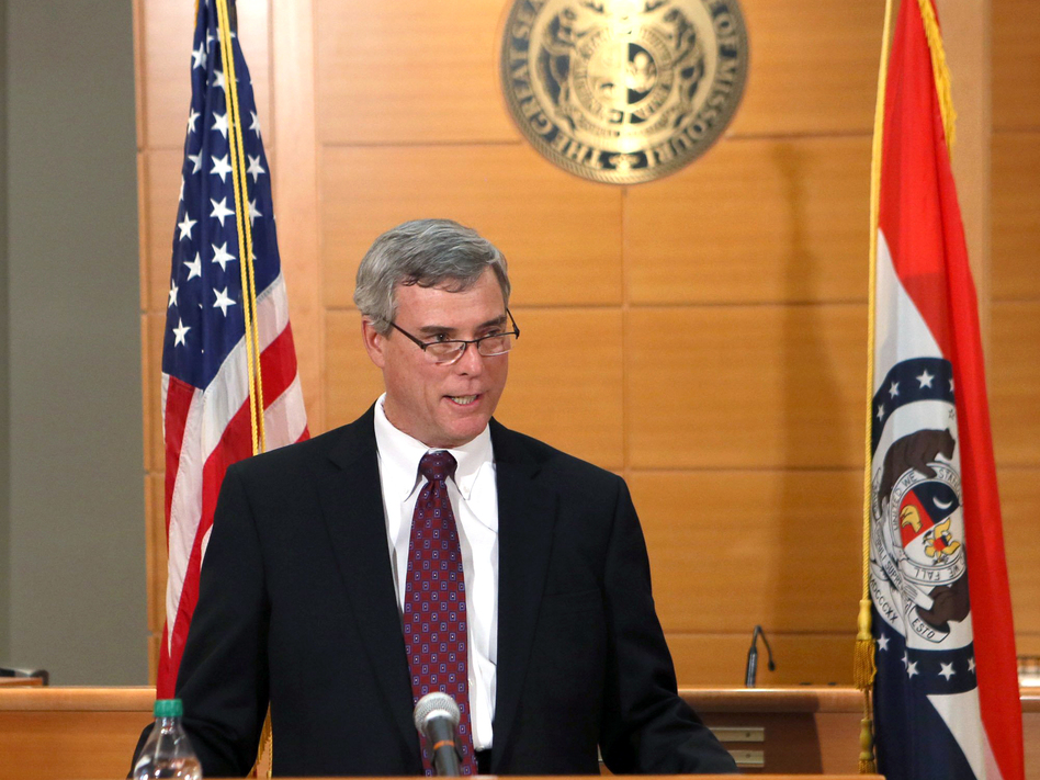 St. Louis County Prosecutor Robert McCulloch announces the grand jury's decision not to indict Ferguson police officer Darren Wilson in the Aug. 9 shooting of Michael Brown, on Nov. 24. (Cristina Fletes-Boutte/AP)