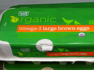 Eggs labeled as organic and omega-3 for sale under the Fresh & Easy store brand on Oct. 14.