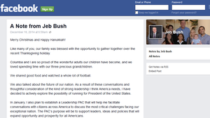 With Facebook Post, Jeb Bush Takes A Big Step Toward 2016