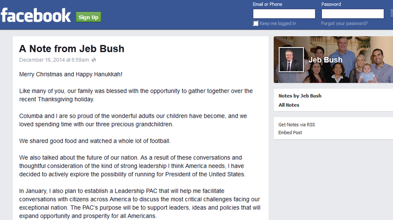 Former Florida Gov. Jeb Bush's Facebook announcement comes following a series of statements that he would soon decide on a presidential run.