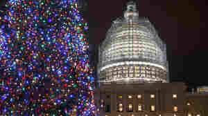 The Capitol's dome and Christmas tree are illuminated on Dec. 11 as Congress worked to pass a $1.1 trillion U.S. government-wide spending bill and avoid a government shutdown.