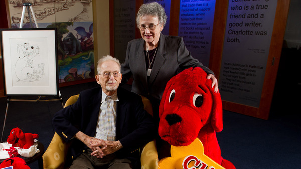 Author Norman Bridwell and his wife, Norma, pose for a portrait in 2011. The creator of the Clifford the Big Red Dog stories died Friday at age 86.