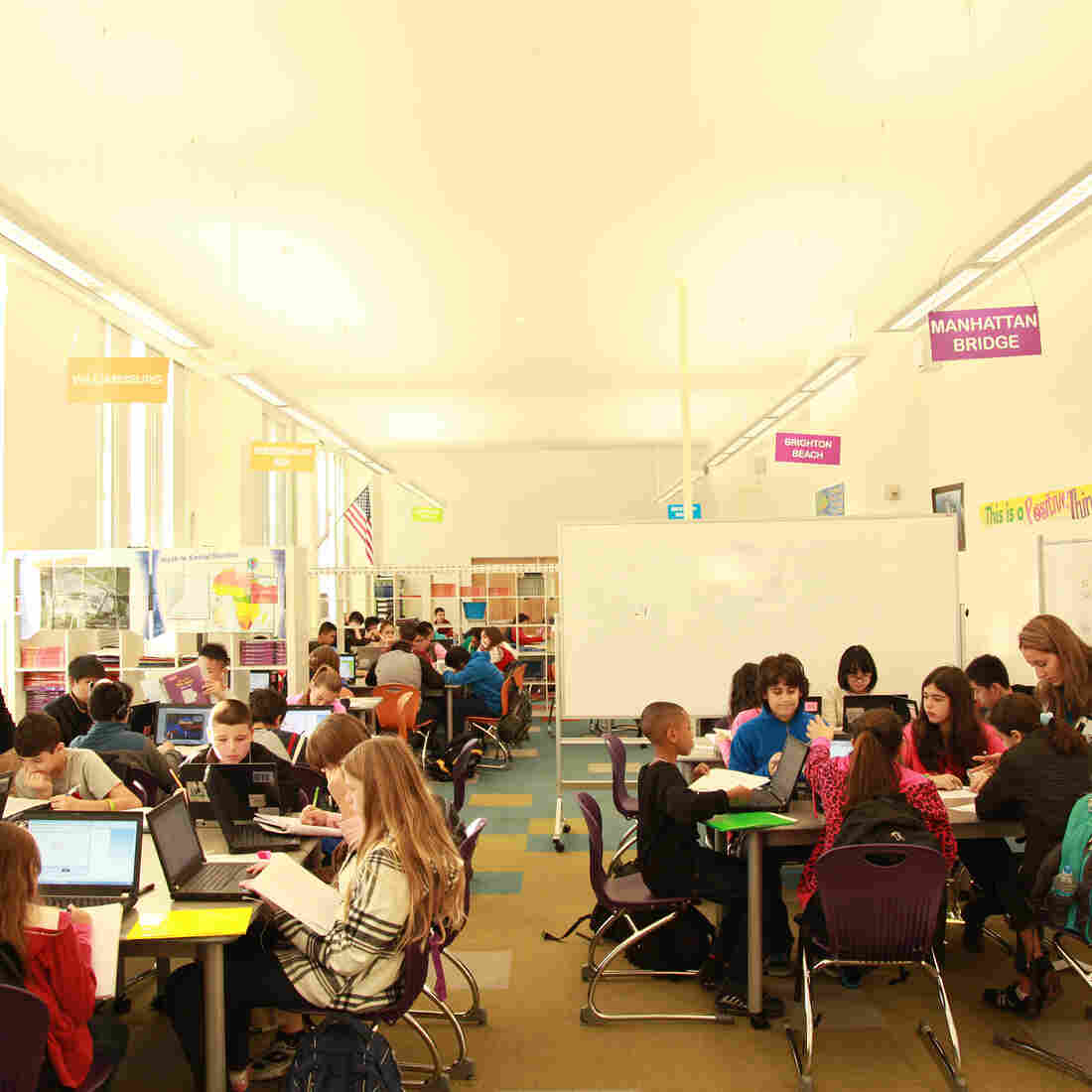 A blended learning classroom at David Boody Jr. High School in New York City.