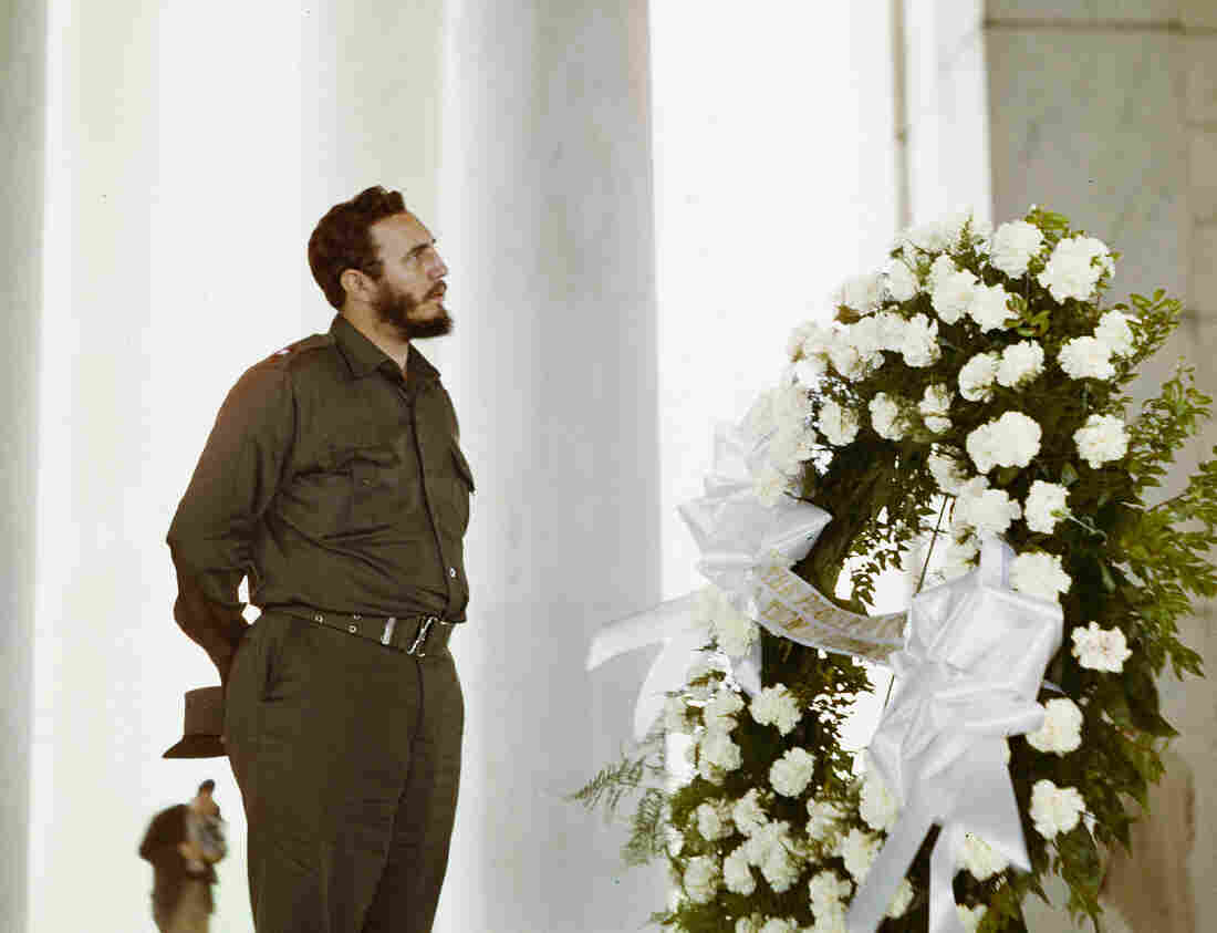 Fidel Castro looks up at the Jefferson Memorial on April 16, 1959. The Cuban leader visited Washington several months after seizing power. But U.S.-Cuban relations quickly frayed, and the U.S. imposed an embargo of the island in 1960.