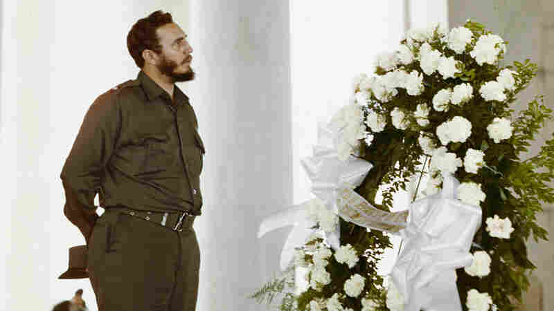 Fidel Castro looks up at the Jefferson Memorial on April 16, 1959. The Cuban leader visited Washington several months after seizing power. But U.S.-Cuban relations quickly frayed, and the U.S. imposed an embargo of the island in 1961.