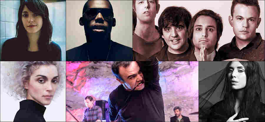 Clockwise from upper left: Spoon, Sharon Van Etten, St. Vincent, Future Islands, Flying Lotus