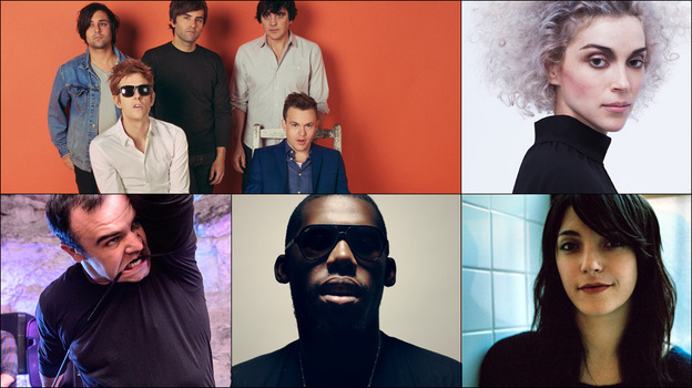 Clockwise from upper left: Spoon, Sharon Van Etten, St. Vincent, Future Islands, Flying Lotus. (Courtesy of the artists)