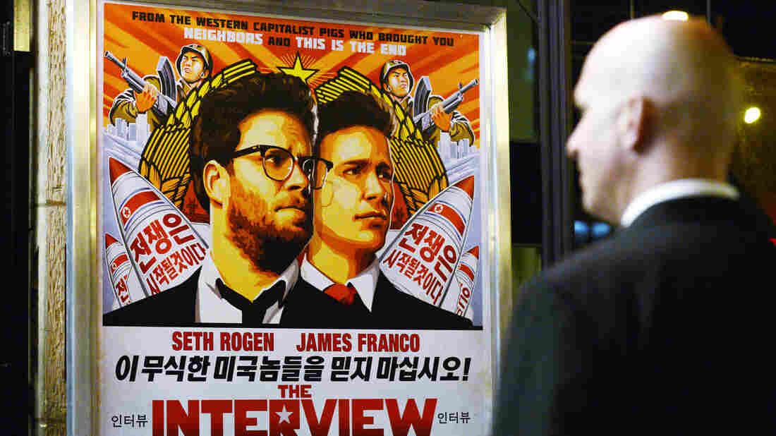 U.S. intelligence officials believe North Korea was centrally involved in the recent attack on Sony Pictures' computer network — possibly out of retribution for its film The Interview. Above, a security guard stands outside a theater during the film's premiere in Los Angeles last week.